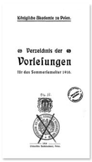 Verzeichnis der Vorlesungen für das Sommersemester 1916