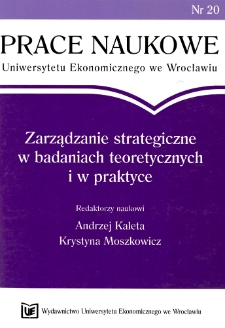 Prace Naukowe Uniwersytetu Ekonomicznego we Wrocławiu, 2008, Nr 20