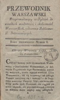 Tresc materyi Przewodnika Warszawskiego od początku wychodzenia aż do końca Roku Pierwszego 1788
