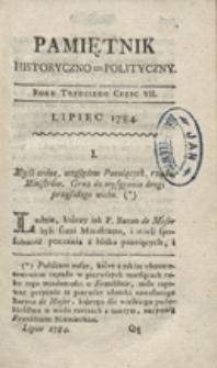 Pamiętnik Historyczno-Polityczny Przypadków, Ustaw, Osób, Miejsc i Pism wiek nasz szczególnie interesujących. R.1784 T.3 (Sierpień)