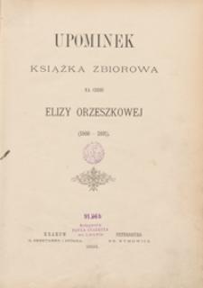 Upominek : książka zbiorowa na cześć Elizy Orzeszkowej (1866-1891)