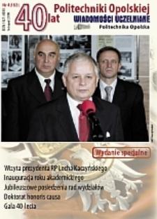 Wiadomości Uczelniane : pismo informacyjne Politechniki Opolskiej : wydanie specjalne, nr 4 (153), listopad 2006