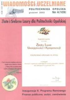 Wiadomości Uczelniane : pismo informacyjne Politechniki Opolskiej, nr 4 (109), grudzień 2002