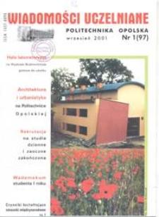 Wiadomości Uczelniane : pismo informacyjne Politechniki Opolskiej, nr 1 (97), wrzesień 2001