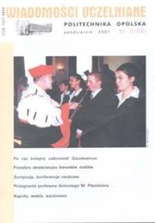 Wiadomości Uczelniane : pismo informacyjne Politechniki Opolskiej, nr 2 (98), październik 2001