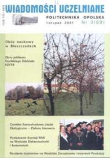 Wiadomości Uczelniane : pismo informacyjne Politechniki Opolskiej, nr 3 (99), listopad 2001