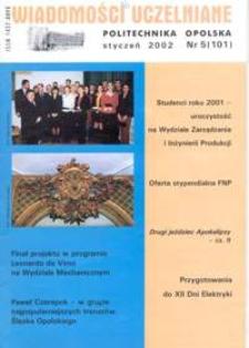 Wiadomości Uczelniane : pismo informacyjne Politechniki Opolskiej, nr 5 (101), styczeń 2002