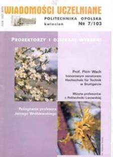 Wiadomości Uczelniane : pismo informacyjne Politechniki Opolskiej, nr 7 (103), kwiecień 2002