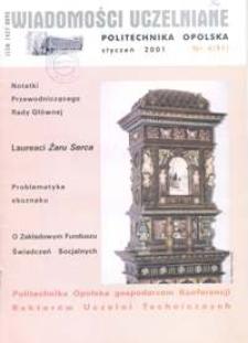 Wiadomości Uczelniane : pismo informacyjne Politechniki Opolskiej, nr 4 (91), styczeń 2001