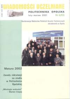 Wiadomości Uczelniane : pismo informacyjne Politechniki Opolskiej, nr 5 (93), luty-marzec 2001