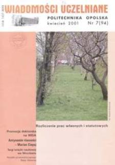 Wiadomości Uczelniane : pismo informacyjne Politechniki Opolskiej, nr 7 (96), kwiecień 2001