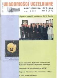 Wiadomości Uczelniane : pismo informacyjne Politechniki Opolskiej, nr 8 (95), maj 2001