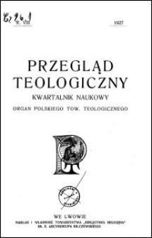 Przegląd Teologiczny : kwartalnik naukowy. Rocznik VIII, 1927