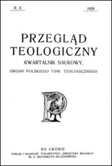 Przegląd Teologiczny : kwartalnik naukowy. Rocznik X, 1929