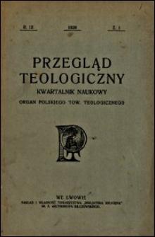 Przegląd Teologiczny : kwartalnik naukowy. Rocznik IX, 1928, Z. 1