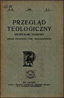 Przegląd Teologiczny : kwartalnik naukowy. Rocznik IX, 1928, Z. 2