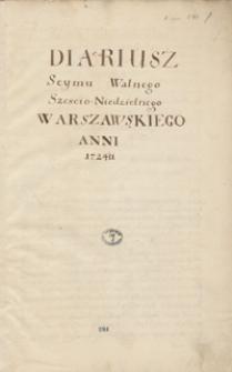 Diariusz sejmu walnego sześcioniedzielnego warszawskiego anni 1724