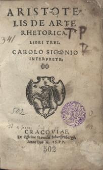 Aristotelis De Arte Rhetorica Libri Tres Carolo Sigonio Interprete