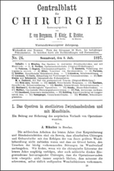 Das Operiren in sterilisirten Zwirnhandschuhen und mit Mundbinde. Ein Beitrag zur Sicherung des aseptischen Verlaufs von Operationswunden, Centralblatt für Chirurgie, 1897, Jg. 24, No. 26, S. 713-717