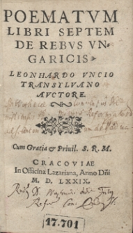Poematum Libri Septem De Rebus Ungaricis [...]