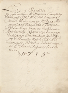 [Kopiariusz mów, listów, akt publicznych, wierszy i innych materiałów odnoszących się przeważnie do spraw politycznych Polski z lat 1715-1720]