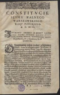 Constitucie Seymu Walnego Warszawskiego Roku Panskiego M.D.XC.III. - Uniwersał poborowy