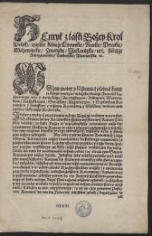 [Potwierdzenie praw przez Henryka III króla Polski na sejmie koronacyjnym dn. 22 kwietnia 1574]