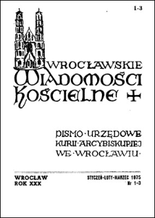Wrocławskie Wiadomości Kościelne. R. 30 (1975), nr 1/3