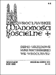 Wrocławskie Wiadomości Kościelne. R. 30 (1975), nr 4/6