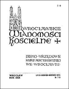 Wrocławskie Wiadomości Kościelne. R. 30 (1975), nr 7/9