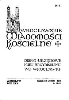 Wrocławskie Wiadomości Kościelne. R. 30 (1975), nr 10/11