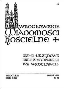 Wrocławskie Wiadomości Kościelne. R. 30 (1975), nr 12