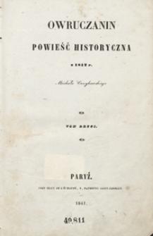 Owruczanin : powieść historyczna z 1812 r. Michała Czaykowskiego. Tom drugi