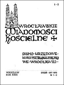 Wrocławskie Wiadomości Kościelne. R. 31 (1976), nr 1/2