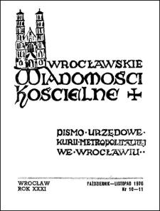 Wrocławskie Wiadomości Kościelne. R. 31 (1976), nr 10/11