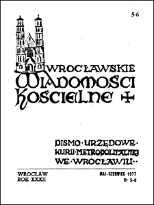 Wrocławskie Wiadomości Kościelne. R. 32 (1977), nr 5/6