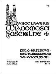 Wrocławskie Wiadomości Kościelne. R. 32 (1977), nr 7/8