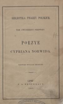 Poezye Cypriana Norwida. - 1 wyd. zbior.