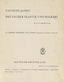 Tausend Jahre Deutscher Plastik und Malerei : mit 192 Abbildungen