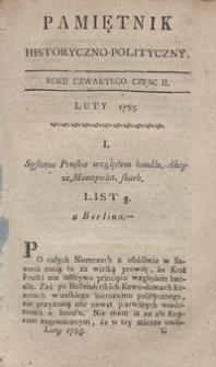 Pamiętnik Historyczno-Polityczny Przypadków, Ustaw, Osób, Miejsc i Pism wiek nasz szczególnie interesujących. R.1785 T.1 (Luty)