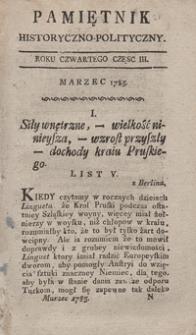 Pamiętnik Historyczno-Polityczny Przypadków, Ustaw, Osób, Miejsc i Pism wiek nasz szczególnie interesujących. R.1785 T.1 (Marzec)