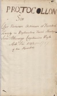 Protocollon [civitatis Stanislavoviensis] seu liber variarum actionum et decretorum […] 1742-1747