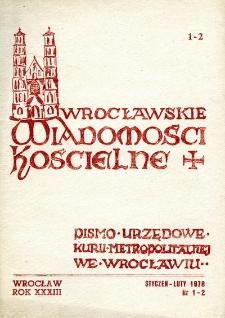 Wrocławskie Wiadomości Kościelne. R. 33 (1978), nr 1/2