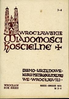 Wrocławskie Wiadomości Kościelne. R. 33 (1978), nr 3/4