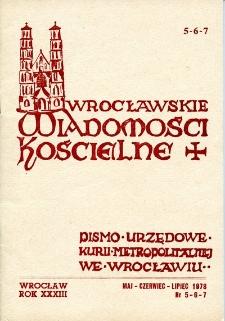 Wrocławskie Wiadomości Kościelne. R. 33 (1978), nr 5/7
