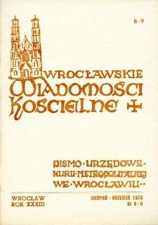 Wrocławskie Wiadomości Kościelne. R. 33 (1978), nr 8/9