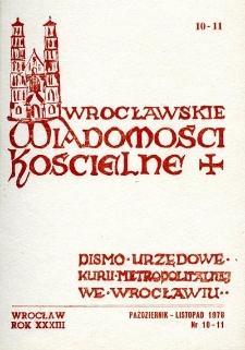 Wrocławskie Wiadomości Kościelne. R. 33 (1978), nr 10/11