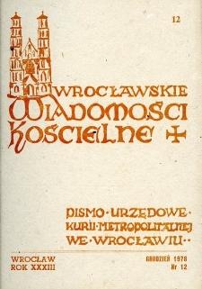 Wrocławskie Wiadomości Kościelne. R. 33 (1978), nr 12