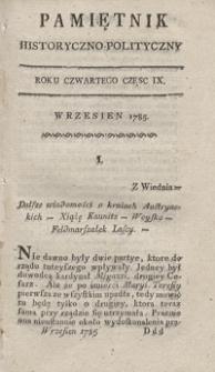 Pamiętnik Historyczno-Polityczny Przypadków, Ustaw, Osób, Miejsc i Pism wiek nasz szczególnie interesujących. R.1785 T.3 (Wrzesień)