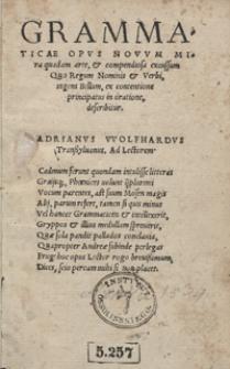 Grammaticae Opus Novum Mira quadam arte, et compendiosa excussum : Quo Regum Nominis et Verbi, ingens Bellum, ex contentione principatus in oratione, describitur